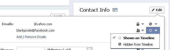 Change default email on Facebook