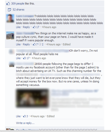 Nested comment threads on Facebook