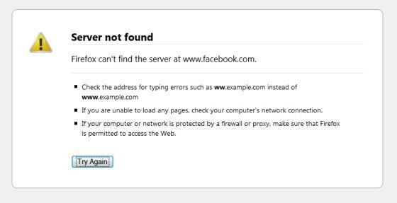 Facebook's outage - Server not found on Firefox