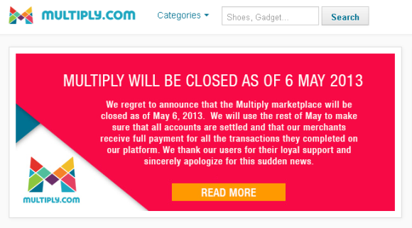Multiply Marketplace is closing down on May 6, 2013